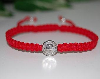 St.Benedict Bracelet,Benedictine Blessing Bracelet,Silver Medal,Hemp String Bracelet,Adjustable Drawstring,Men,Women,Pray,Wish Bracelet
