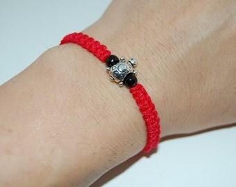 Lucky Turtle Bracelet,Hemp,Good Luck String Bracelet,Adjustable Drawstring,Mala,Pray,Men,Woman,Yoga Bracelet,Protection,Meditation