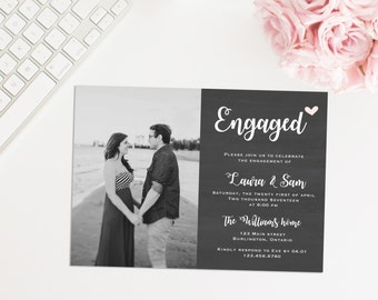 Printable Photo Engagement Party Invitation, Rustic Engagement Party Invite, Theyre Engaged! Engagement Announcement