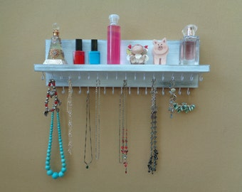 Jewelry Display - Jewelry Holder - Jewelry Organizer - Necklace Holder - With A Shelf - 35 Hooks - Shabby White Finish - Other Colors Too