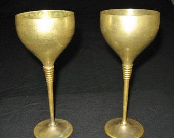 2 Brass Wine Goblets, Vintage Brass Wine Cups, Long stemmed Drinking Cups