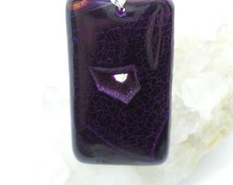 Purple Dragon Scale Agate Druzy Pendant.