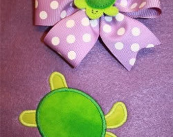Smiling Turtle Applique and Smiling Turtle Feltie for the 4x4 hoop Set