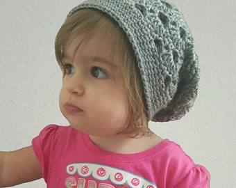 Stacked Shells Slouchy Beanie Toddler/Child Crochet Pattern - PDF FILE ONLY - Instant Download
