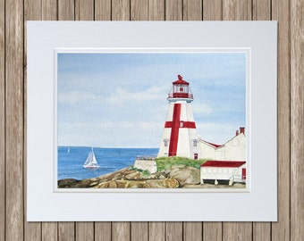 East Quoddy Light House Watercolor Painting - Atlantic Canada - Red & White Cross Lighthouse - Original Watercolor Art by Beth Whitney