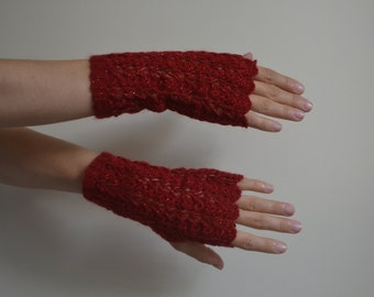 Wool Crochet Fingerless Red Gloves, Angora Wool, Mittens, Women Accessories, Winter Fashion