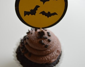 Flying Bats Cupcake Toppers - Halloween Cupcake Toppers - Set of 24