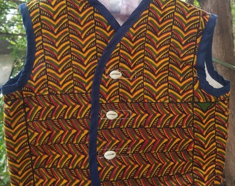 African Print Baby Vest with Cowries