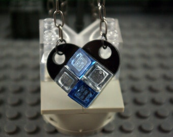Heart Necklace Black, Transparent Blue and Clear Handmade from Lego bricks
