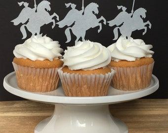 Knight, Medieval, Thin Edible Paper Cupcake Topper, Horse, Wafer Paper, Food Safe, choose amount from menu, READ Item Details