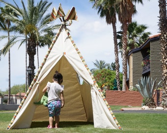XL Doodle  teepee, 8ft kids Teepee, large tipi, Play tent, wigwam or playhouse with canvas