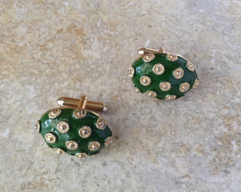 Vintage Kelly Green Large Oval Button Cuff Links