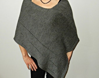 Poncho sweater Wrap Charcoal Wool Women Poncho Alpaca Cape spring Wool Wrap Knit Cape shrugs boleros warm poncho wool gift for her