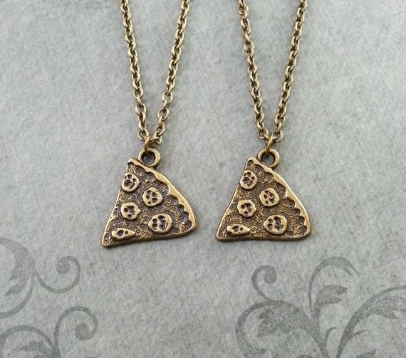pizza necklace pepperoni pizza jewelry bronze pizza charm