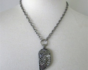 Antique Silver Layered Owl Necklace