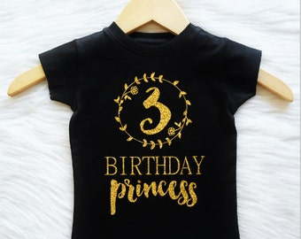 ANY AGE Any Color Birthday Princess shirt CUSTOMIZABLE Colors coral mint gray cute third fourth fifth sixth second first seventh