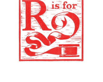 R is for Ribbon, a Christmas alphabet linocut - Archival digital print of my hand-pulled print