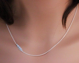 Sterling Silver Feather Necklace, Sideways Feather Necklace, Silver Feather Jewelry - Celebrity Feather Necklace, junnifer aniston necklace