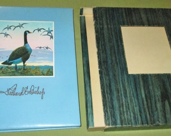The Ways of Wildfowl Richard E Bishop Art Book 1971 Limited Edition Leather Cover  Etchings Paintings