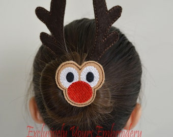 Reindeer Bun Pal Hair Accessory - Hair Pin - Bobby Pin - Hair Decoration - Sports - Clip - Hair Clip - Seasonal - Barrette