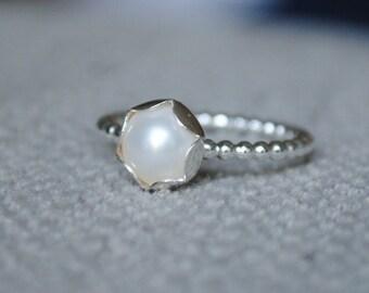 Pearl & Petal Ring, Sterling Silver, Beaded Ring, Pearl Ring