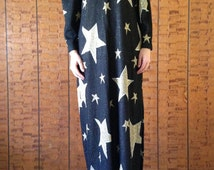 Vintage Black, Metallic Gold and Silver Evening Gown...or WIZARD COSTUME! 70's or 80's by Chetta B.