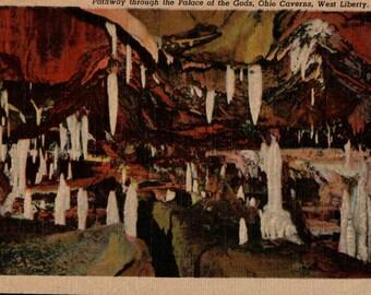 Ohio Caverns Vintage Linen Postcard Palace of the Gods West Liberty OH Caves Stalactite Stalagmite Souvenir Post Card