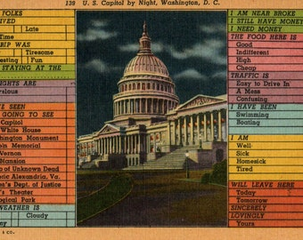 Funny Washington DC Vintage Linen Postcard Fill in the Blank Multiple Choice Humor Novelty US Capitol Building at Night