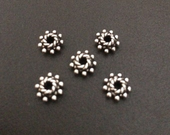 Bali granulated solid 925 Sterling spacer silver bead. Handcrafted . Wholesale . B39