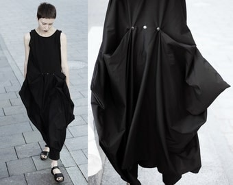 Avant garde asymmetrical maxi dress/ black summer dress