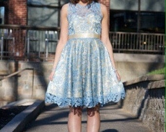 Golden Dress with Blue lace overlay