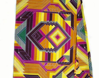 African wax Print  Fabric. 3 yards, for African Print dress, African Clothing, Ankara fabric,abstract pattern, purple, yellow, super wax