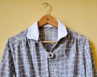 vintage grey blouse white collar, removable whithe collar