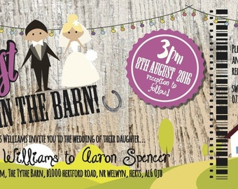 SAMPLE Rustic Country Barn Fest Wedfest Ticket Wedding Invitations!