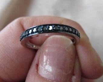 Genuine Blue Diamond Band Ring, 17 Blue Diamonds, Size 8