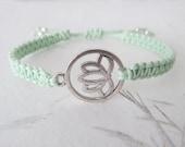 Lotus bracelet, yoga bracelet, macrame bracelet, lotus jewelry