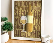 Wine Art, Restaurant Typography, Café Posters, Grape Variety, Food & Drink Wall Art