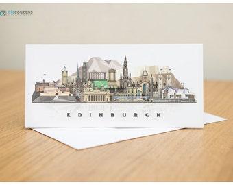 Edinburgh Greeting Card, Edinburgh Skyline, Scotland Cityscape, Blank Card