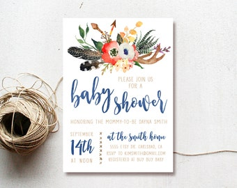 Boy Baby Shower Invitation Boho, Woodland, Antler, Arrow, Printable Invite (518)
