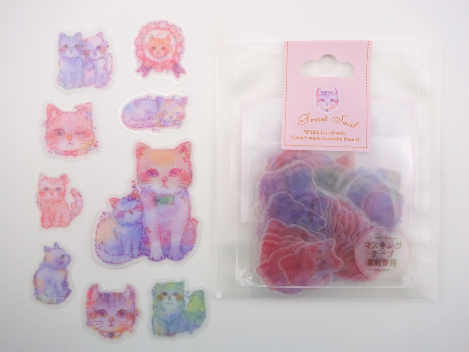 50 japanese cats kittens sticker flakes beautiful for Beautiful pastel colors