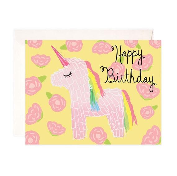 happy birthday card handmade unicorn birthday greeting card