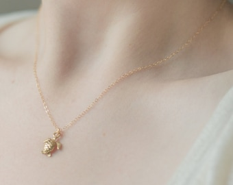 Gold Turtle Necklace. Sea turtle charm w/ 14k gold filled chain. good luck animals. spirit animal. golden tortoise charm