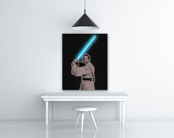 Obi Wan Kenobi Star Wars Jedi Knight, Jedi Lightsaber Wall, Star Wars Image Download Art Lover Gift, Black And Blue Print Art, Ewan McGregor