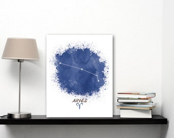 Zodiac Aries Constellation Star Sign, Aries Gift April Birthday Present, Aries Art, Zodiac Constellation Art, Aries Print Astrology Gift