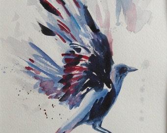 Flying crow watercolor. Black bird painting. Bird wings painting, bird in flight, birder art gift, OOAK art, signed, 11x15 in. Not a Print!