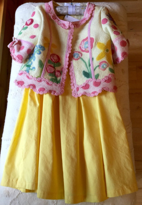 Girls Yellow Party Dress, Matching Jacket, size 3T, Birthday, Flower Girl,  or Special Occasion
