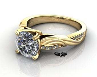 Moissanite Engagement Ring 14kt Yellow Gold #7846