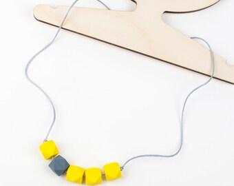 Teething & Nursing Necklace - Yellow / Grey 'Jesse - Teething Beads - Mummy Jewellery - Teething Jewellery -Baby Gift - Teether - Chewelry