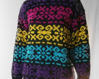 bright and wonderful 80s colorful pattern sweater
