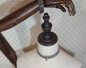 BDSM Chain Collar with Wrist Cuffs, Bondage set, Choker & wrist cuffs, Pet Play, Kitty Collar, Goth, Punk, sex toy, adult toy, slave collar